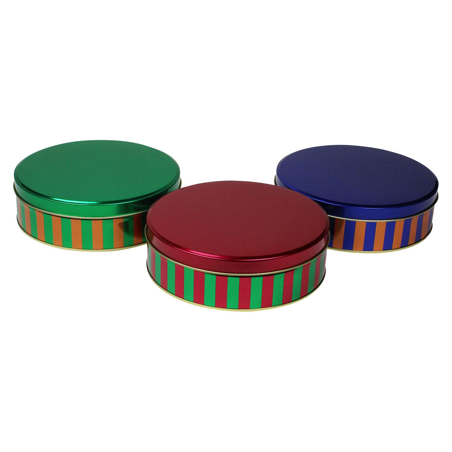 Christmas Stripe Metallic Cookie Tins, Set of 3 LNK XM10322