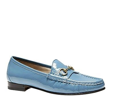 d0e37a904 Amazon.com: Gucci Soft Patent Blue Leather Horsebit Loafer 338348 ...