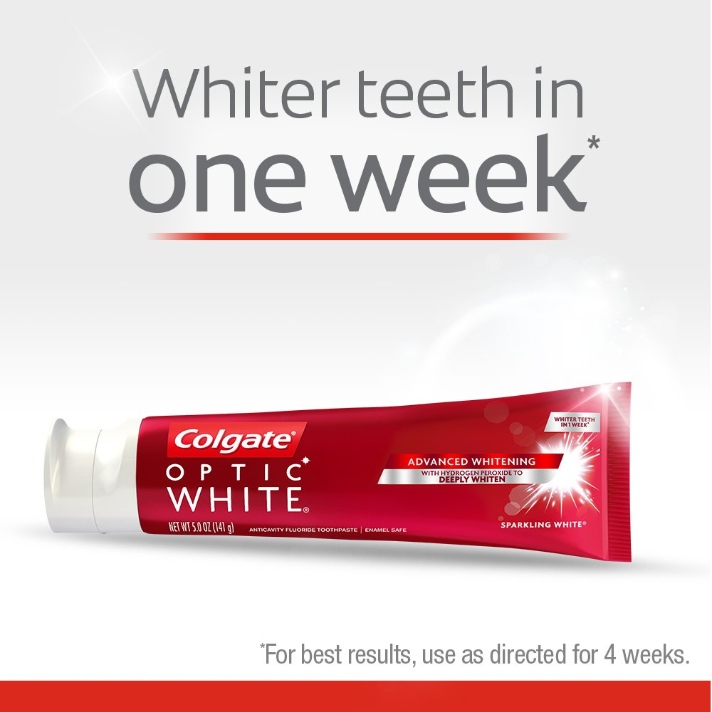 Colgate Optic White Whitening Toothpaste, Sparkling Mint, 5 Ounce, 3 Count by Colgate (Image #4)