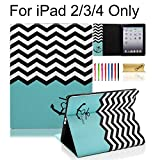 iPad Case, iPad 2/3/4 Case, Dteck(TM) Cartoon Cute PU Leather [Kickstand] Flip Case with Cards Slots for Apple iPad 4 with Retina Display & iPad 2 & iPad 3 (01 Chevron Anchor)