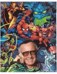 Stan Lee 8 Inch x10 Inch Photo Writer Producer Actor Iron Man Spider-Man Smiling Right Hand to Cheek Surrounded by Cartoon Characters kn