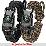 A2S Paracord Bracelet K2-Peak - Survival Gear Kit with Embedded Compass, Fire Starter, Emergency Knife & Whistle - Pack of 2 - Slim Buckle Design (Black/Green-Camo Adjustable Size)