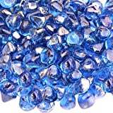 Onlyfire Reflective Fire Glass Diamonds for Natural or Propane Fire Pit, Fireplace, or Gas Log Sets, 10-Pound, 1/2-Inch, Cobalt Blue