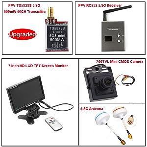 Hopezone FPV System TS5828S 40CH 5.8Ghz 600mw Wireless AV TX Transmitter + RC832 Receiver + 7'' LCD TFT Monitor + 700TVL Mini CMOS Camera + 5.8G Mushroom Antennas