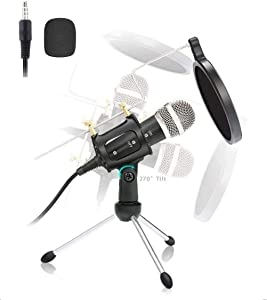Condenser Microphone, Studio Recording Microphone,Professional Microphone for PC, Laptop, Mobile, Ipad, MAC, Windows,for Recording, Podcast, Online Chatting, YouTube, with Tripod Stand, Windscreen