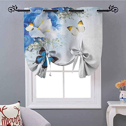 YUAZHOQI Floral Tie Up Curtain