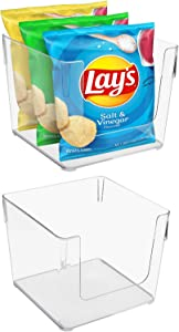 Sorbus Open Plastic Storage Bins Clear Pantry Organizer Box Bin Containers for Organizing Kitchen Fridge, Food, Snack Pantry Cabinet, Fruit, Vegetables, Bathroom Supplies, Square (2-Pack)