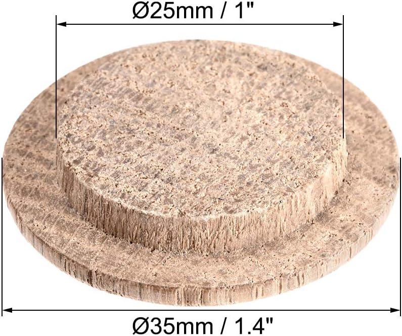 sourcing map Bois Bouton Bouchons Ch/êne Bois Dur Vis Trou Meubles Bouchons Trou 18mm x 23mm