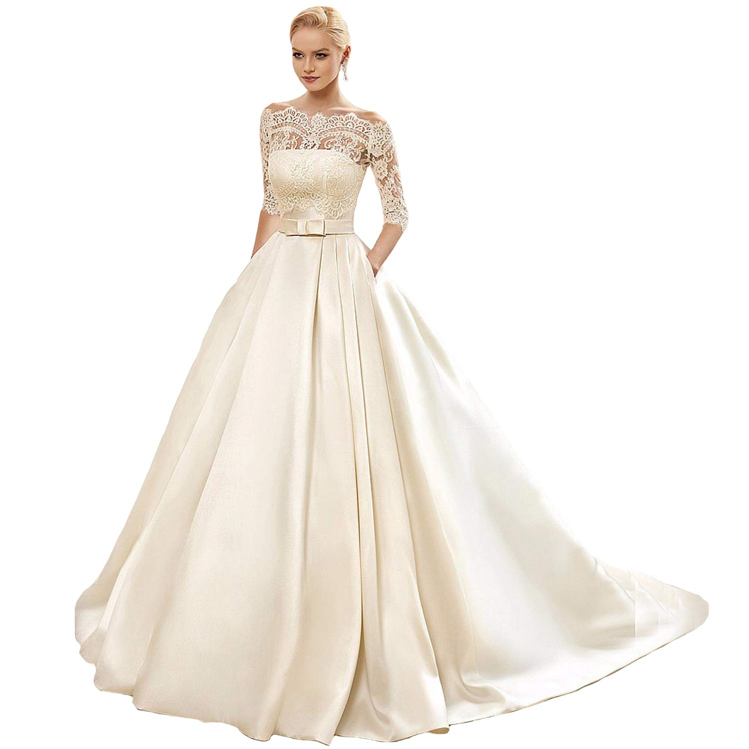 9fb61705af Yuxin Women's Lace Wedding Dress Long 3/4 Sleeves Sweep Train Satin Bridal  Gown at Amazon Women's Clothing store: