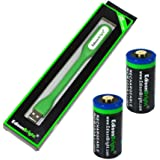 2 Pack Genuine EdisonBright EBR65 3.7v RCR123A 650mAh rechargeable protected li-ion type 16340 batteries with EdisonBright USB powered LED reading light