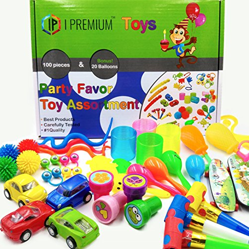 I Premium Party Favor Toy Assortment in Big 120 Pack. Party Favors for Kids. Birthday Party , Classroom Rewards, Carnival, Prizes, Pinata Filler, Bulk Toys, Treasure Box, Goodie Bag Fillers