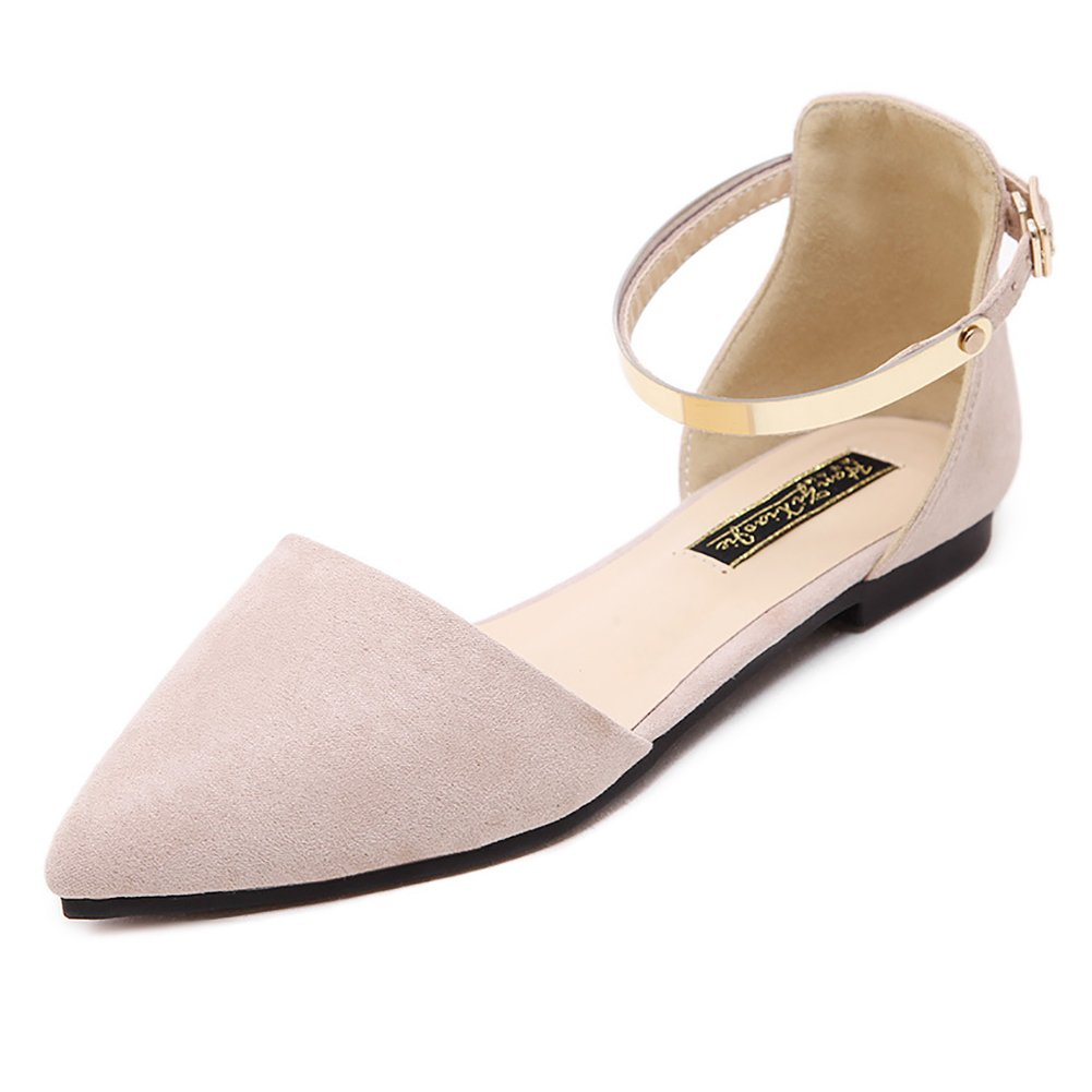 Meeshine Womens D'Orsay Pointy Toe Ankle Strap Buckle Comfort Ballerina Ballet Flats Shoes (10 B(M) US, Beige)