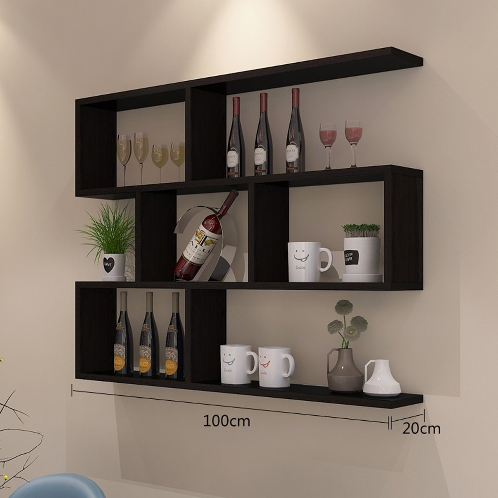 Walled Shelf Modern Simple Restaurant Shelf Decorative Red Wine Rack Set Lattice Storage Tower ( Color : Black walnut color , Size : 10020cm ) by LITINGMEI Shelf (Image #2)