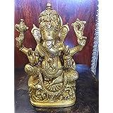 "Ganesha Statue Spiritual Indian Art Sculpture Hindu Decor Brass Figurine 6.5"""