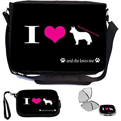 Rikki Knight I Love My Australian Cattle Dog and she Loves Me Design COMBO Multifunction Messenger Laptop Bag - with padded insert for School or Work - includes Wristlet & Mirror