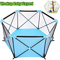 Baby Portable Foldable Playard for 0-6Ages Kids Play Indoor and Outdoor, Baby Playpen with Carry Bag,with Crawling Play Mat for Kids,Colour Blue