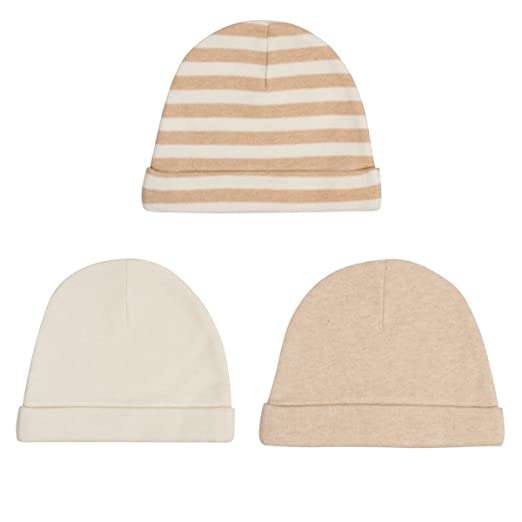 d83c7f4d4 Niteo Organic Cotton Baby Caps, Luxuriously-Soft, All Natural, Dye-Free,  3-Pack