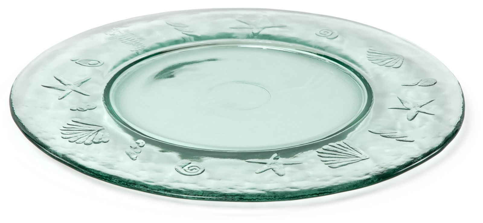 Spanish 100% Recycled Glass Ocean Sea Life Charger Plate, Set of 2 - 12.75''D