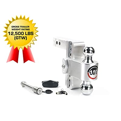 "Weigh Safe 180 HITCH CTB6-2-KA 6"" Drop Hitch, 2"" Receiver 12,500 LBS GTW - Adjustable Aluminum Trailer Hitch Ball Mount & Chrome Plated Combo Ball, Keyed Alike Key Lock and Hitch Pin: Automotive"