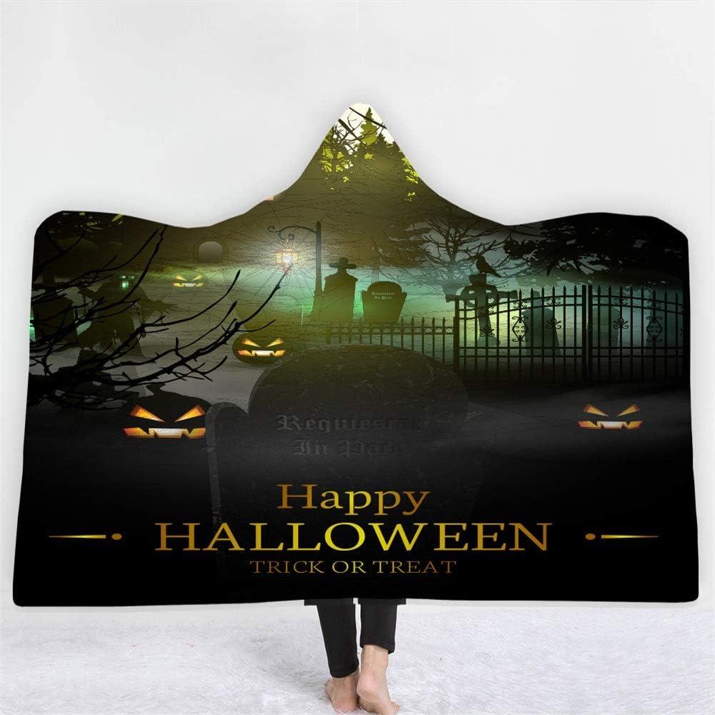 ZHYY Manta con Capucha de Calabaza de impresión DIY Personalizada Manta de Lana Sherpa de Halloween Manta ponible Manta de Tiro de impresión de Pesadilla (Color : 13, Size : 130 * 150cm)