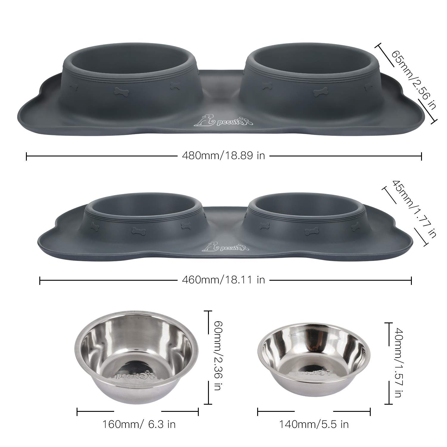 Pecute Dog Bowls Non Slip, Stainless Steel Double Bowls Set with Non-Spill Silicone Mats Tray for Cats Puppies Small Dogs Water Food Feeding (12oz Each Bowl, Grey)