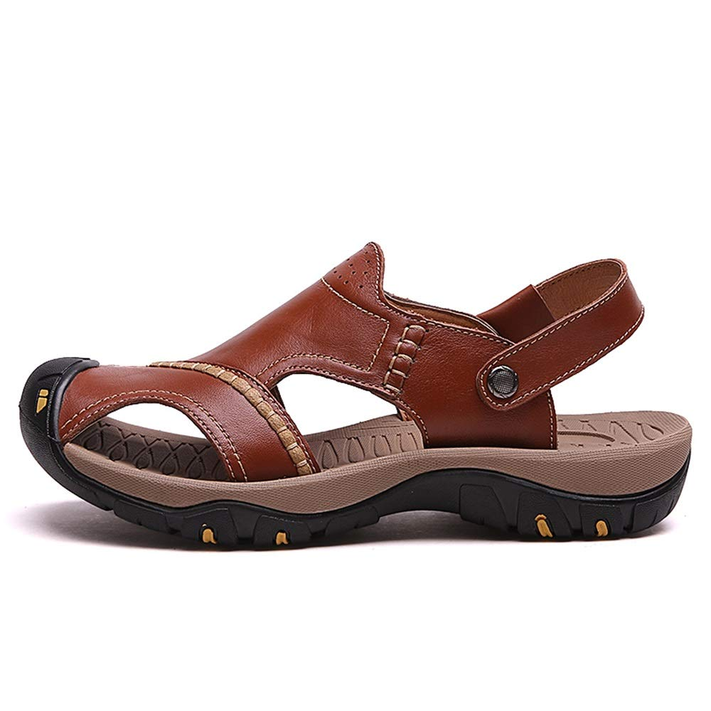 Brown 6.5 D(M) US Jun Sandals for Men Leather Hiking Sandals Athletic Walking Sports Fisherman Beach shoes Closed Toe Water Sandals (color   Black, Size   9.5 D(M) US)