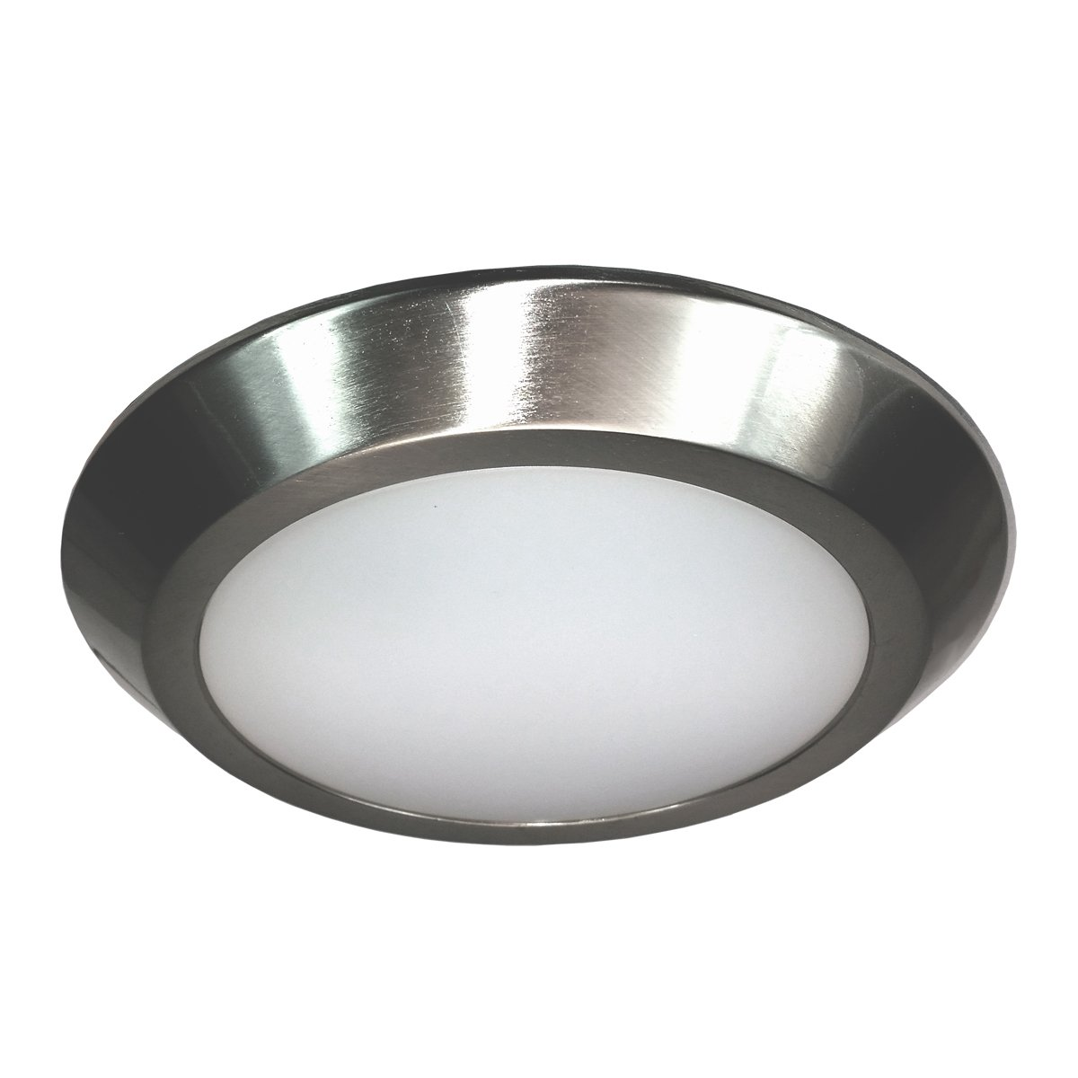 HomeSelects 8137 LED Surface Mount Disc Light, Brushed Nickel with Opal Acrylic Globe, 7.75''Lx7.75''Wx0.75''H