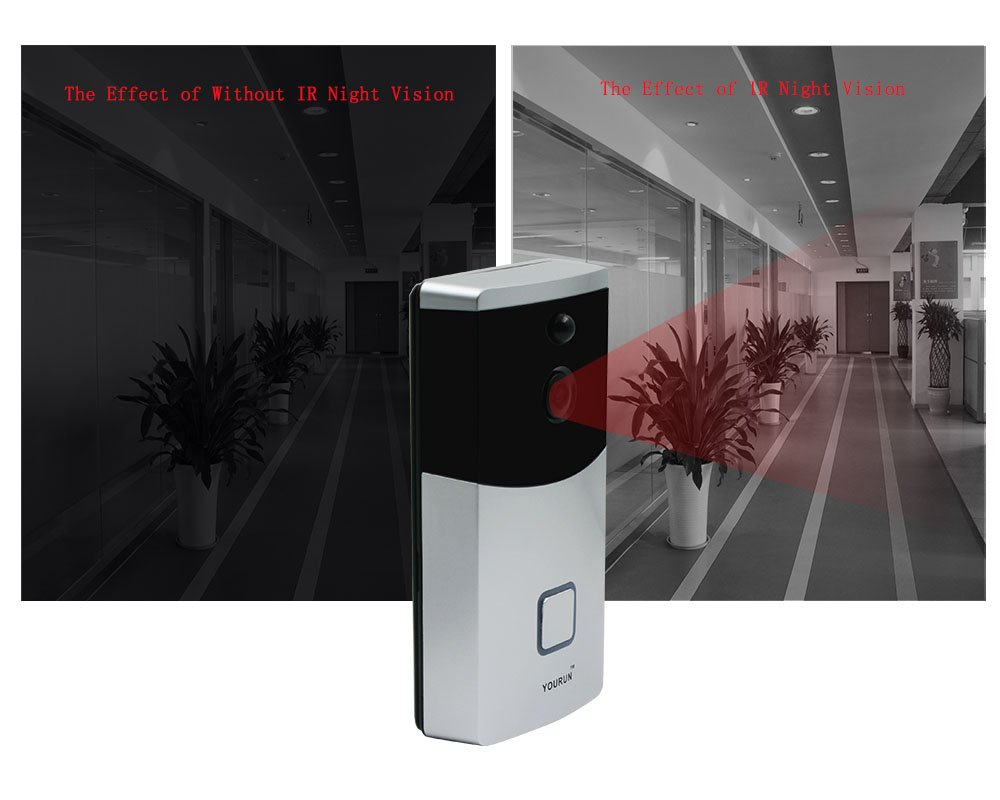YOURUN Low-Power Consumption WiFi Videl Doorbell With IR LED/Light Sensor/PIR/MIC/IndicatorLight/720P/Free Cloud Service/Silver/Batter Not Includ