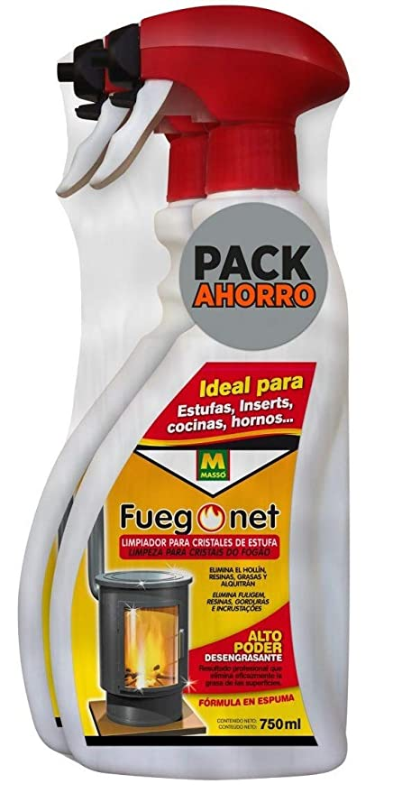 FuegoNet Limpiador para cristales de estufas Pack 2x750 ml