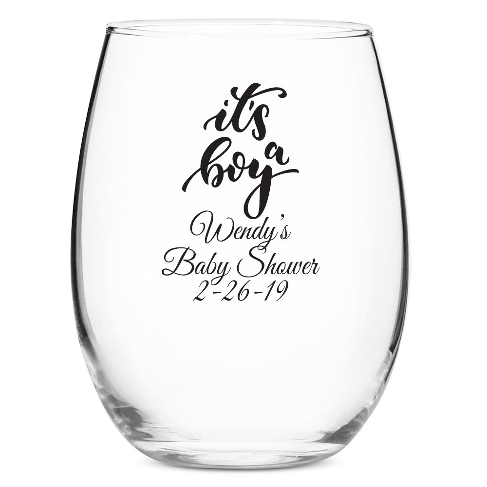 48 Pack Personalized Color Printed 9 Ounce Stemless Wine Glass - It's a Boy - Black