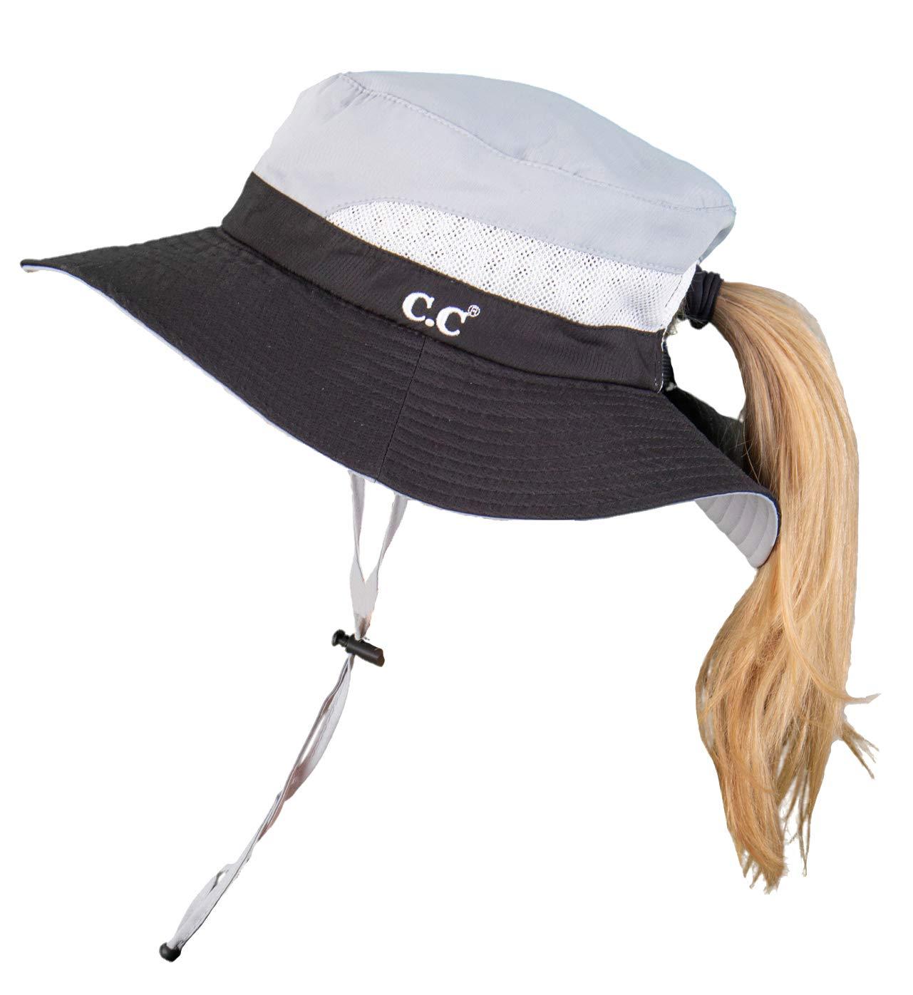 SH-2177-0621 Ponytail Sun Hat Foldable Mesh Outdoor Beach Bucket Hat, Black/Grey
