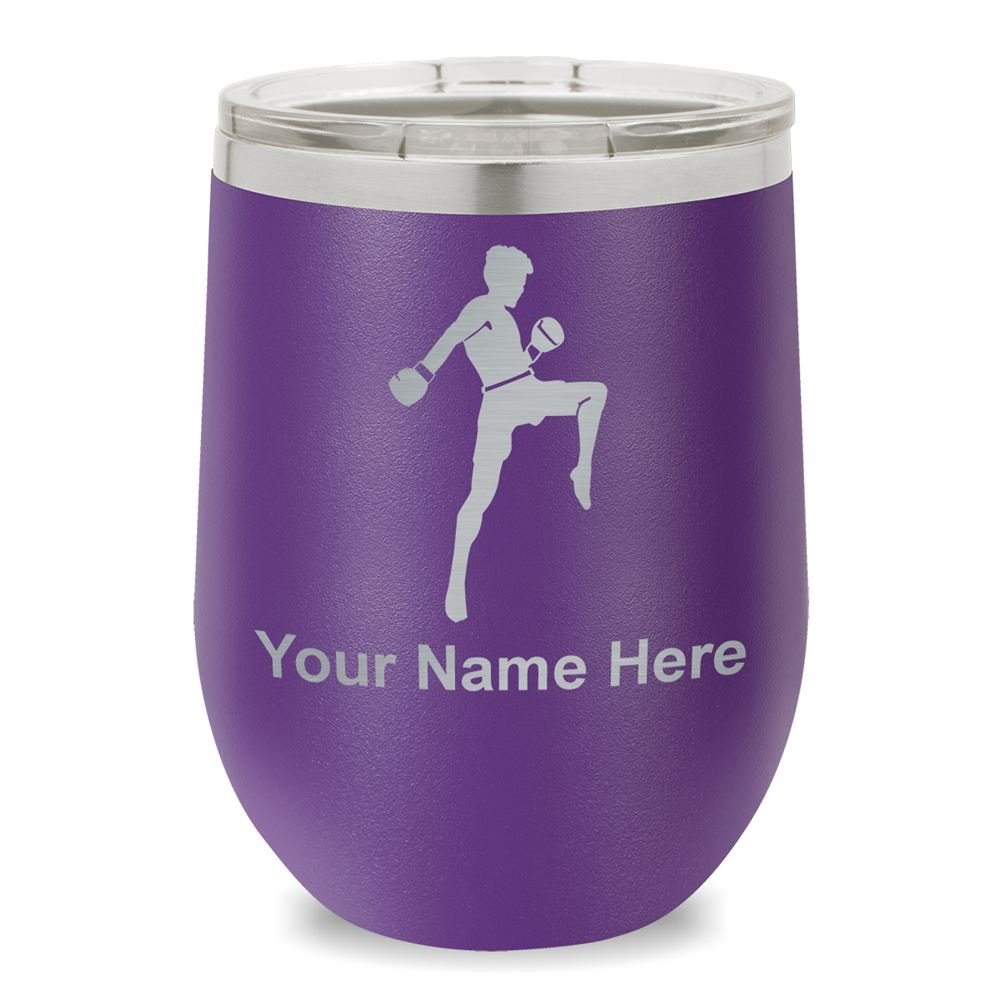 Wine Glass Tumbler, Muay Thai Fighter, Personalized Engraving Included (Dark Purple)