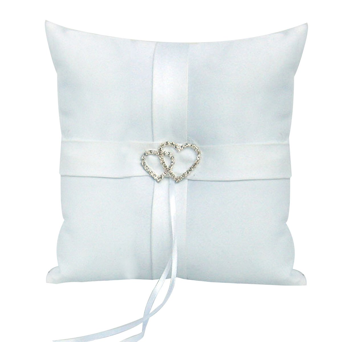 White PIXNOR Rhinestones Wedding Ring Cushion Bearer Pillow with Satin Ribbon 10*10cm