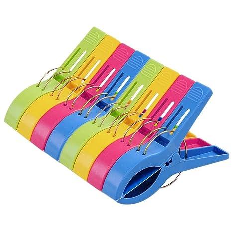 Pack de 8 Grandes Playa Toalla Clips Brillante Color Pl?stico Pinzas Para Tumbona