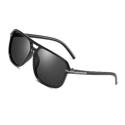 f20728dea35e Polarized Sunglasses for Men Aviator Driving Women Mens Sunglasses  Rectangular Vintage Sun Glasses (Black). Brand  gobiger