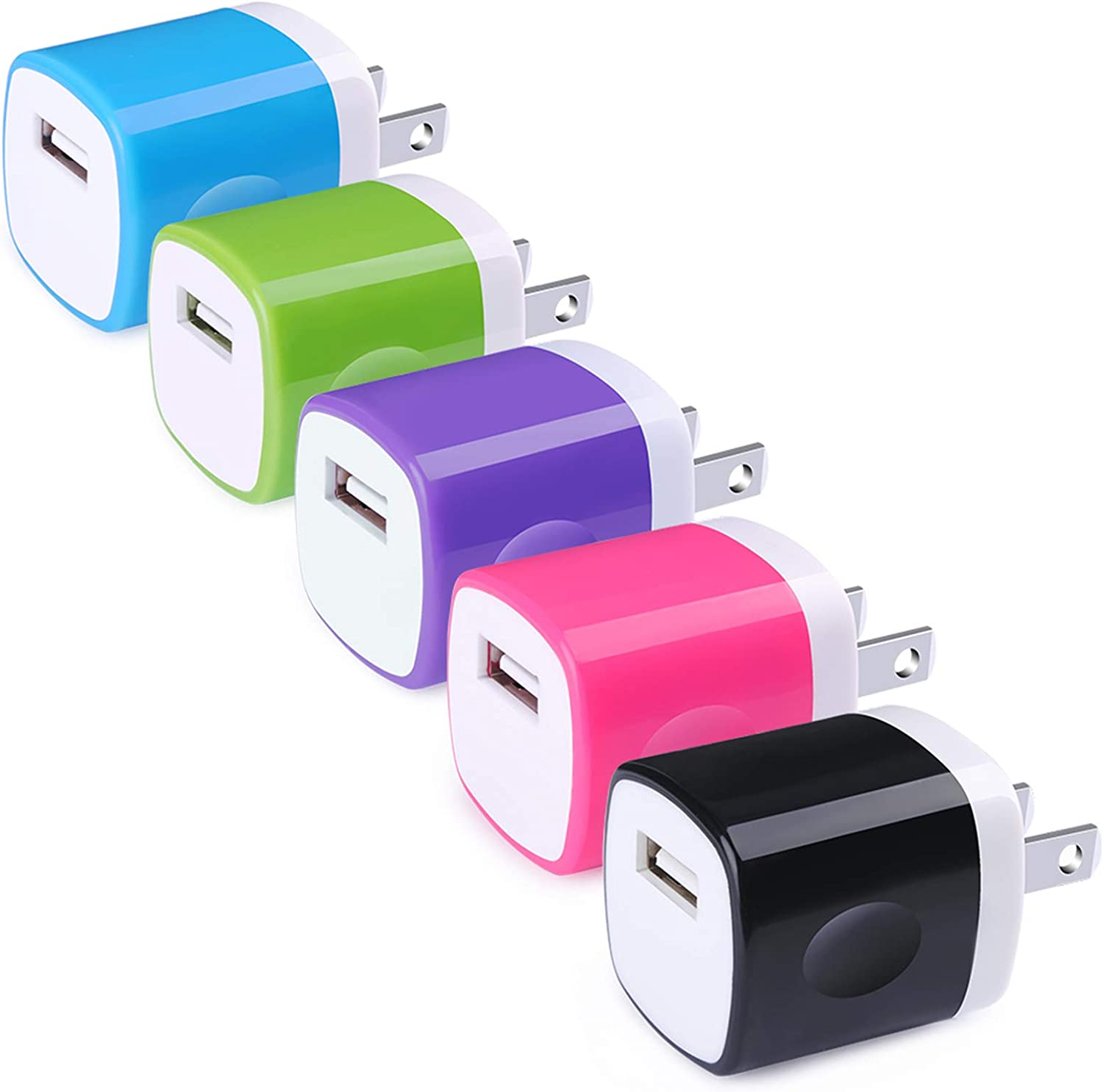Wall Charger Block, Hootek USB Plug 5Pack 1A/5V Wall Charger Plug Charging Cube Brick Charger Box Compatible iPhone 11 XS Max X 8 7 6S Plus, iPad, Samsung Galaxy, LG, HTC, Moto, Android Phone Charger