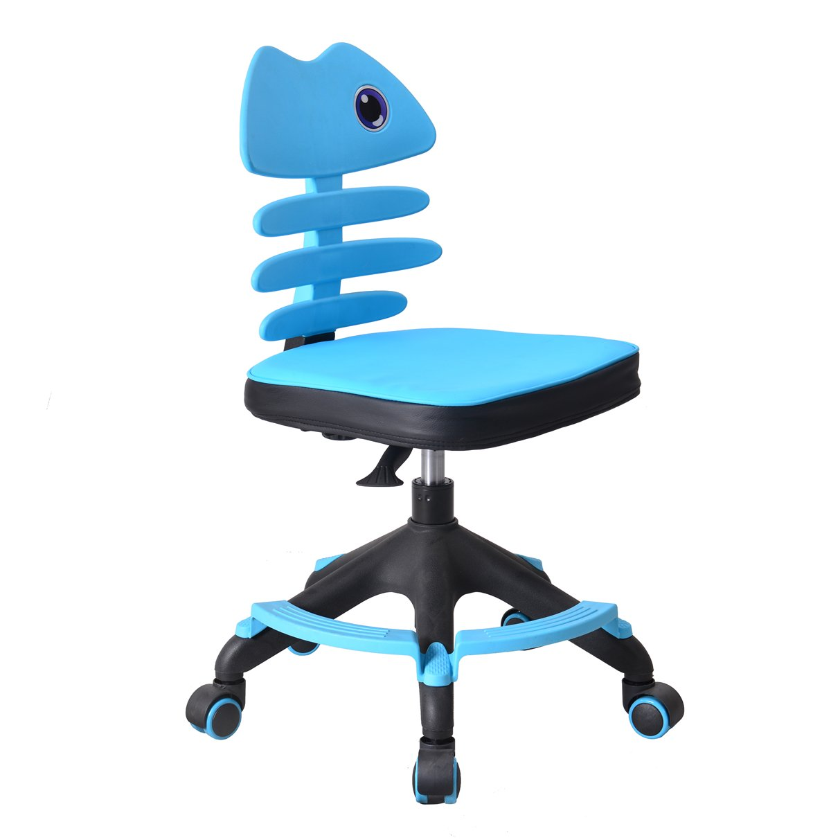 Irene House Teens Children Kids Desk Table Chair with Footrest and Soft Seat Mat (Light Blue)