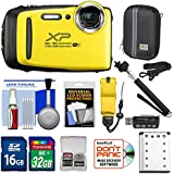 Fujifilm FinePix XP130 Shock & Waterproof Wi-Fi Digital Camera (Yellow) 32GB Card + Battery + Cases + Float Strap + Selfie Stick + Kit