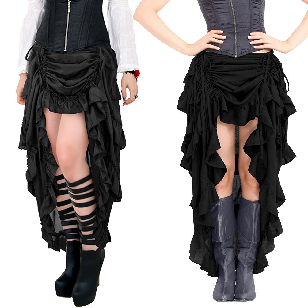 Womens Victorian Gothic Costume Steampunk High Low Cyberpunk Skirt