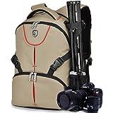 BAIGIO Sac à dos ordinateur portable 39,6 cm Sac pour Appareil photo reflex numérique DSLR Nikon Canon Appareil Photo et accessoires, Kaki