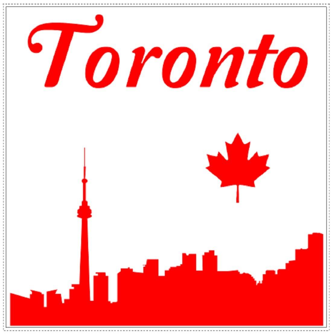 U s custom stickers toronto skyline maple leaf square sticker 3 inch