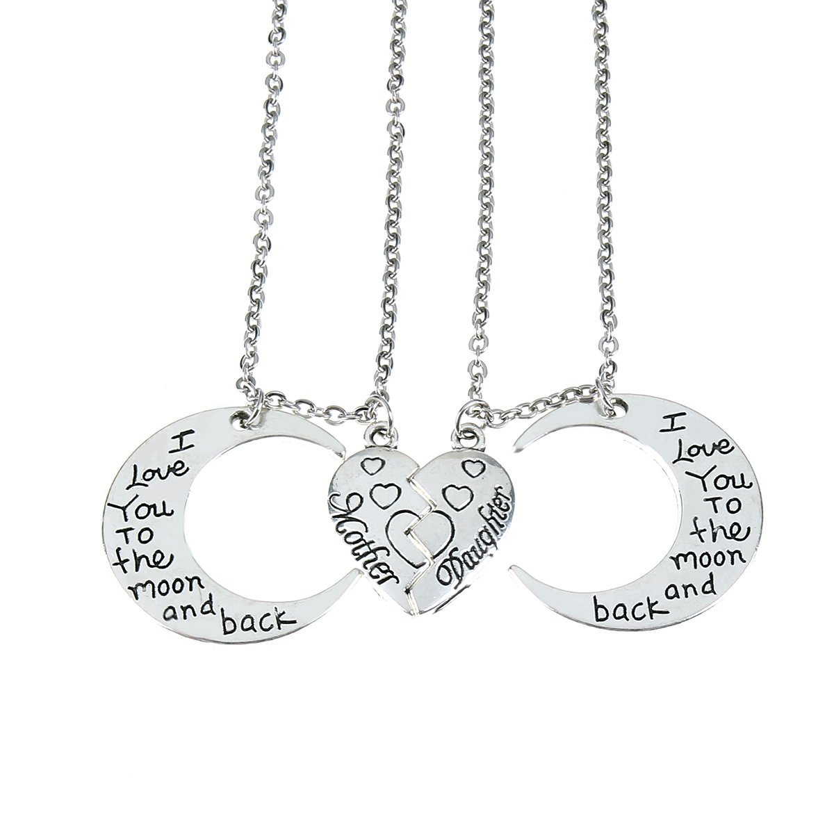 I Love You to The Moon and Back Necklaces Set, Mother Daughter 2 Half Broken Hearts Necklace Sets Gifts CG Jewelry NL-1017