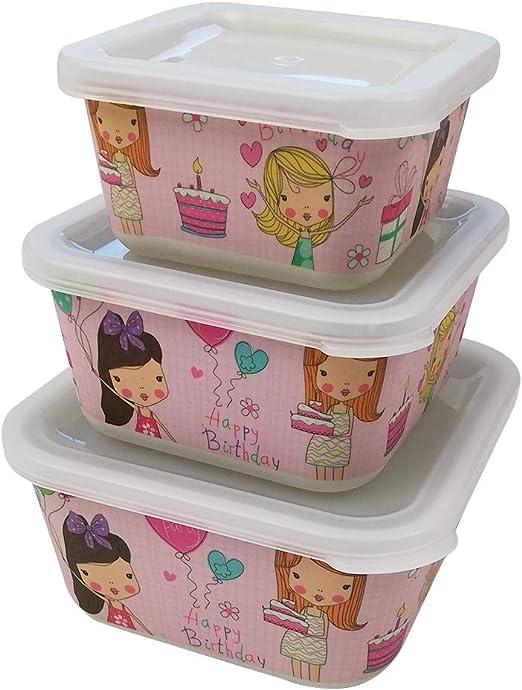 3 Tupper bambú infantil,ecológico sin BPA,Fiambreras desayuno,Ideal para bebés y niñas,Apto para lavavajilla-cumpleaño rosa: Amazon.es: Hogar