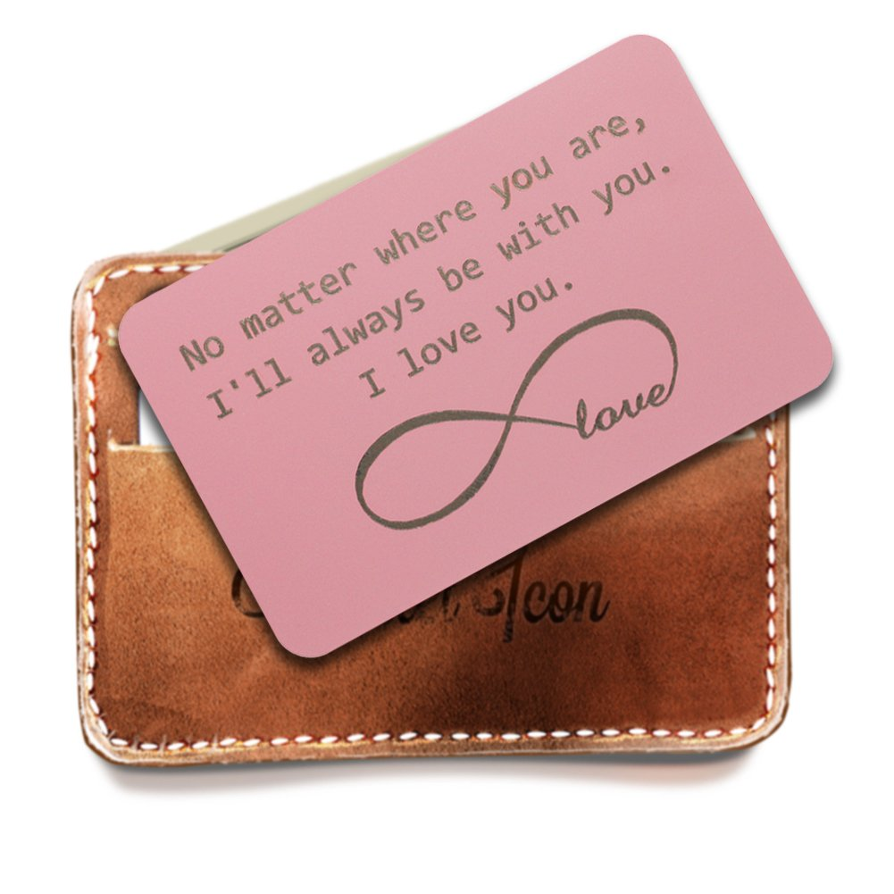 PersonalizedWallet Insert Cards, Pink wallet card, Infinite Love Symbol - I'll be Always be with You, Anniversary gift, Deployment Gift, Groom Gifts for Him