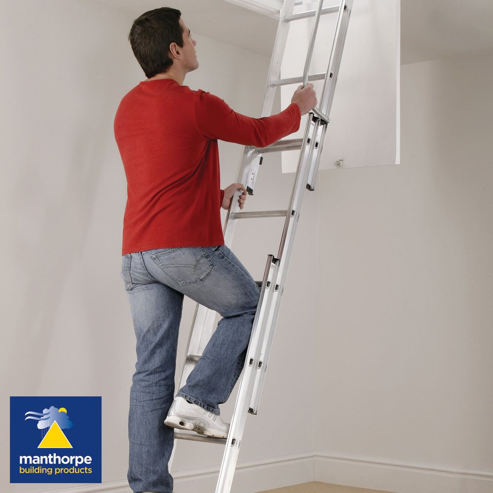 Manthorpe Loft Hatch Ladders | Access Ladders | Aluminium | 3 Section | GLL257