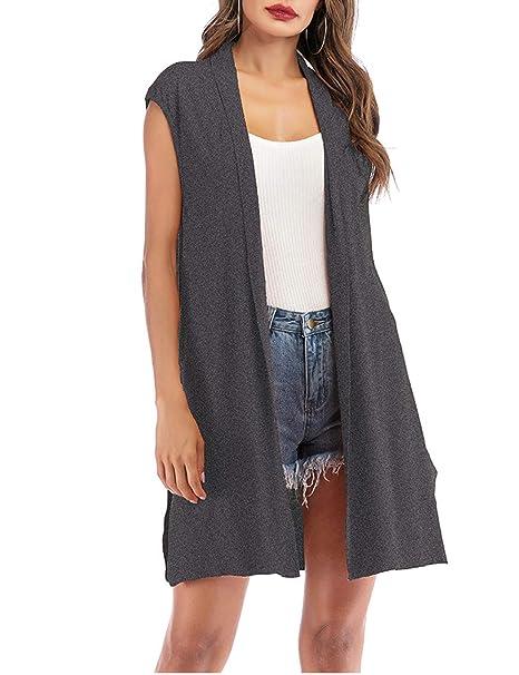 cbdb17fa478 Moschifia Womens Long Vests Sleeveless Draped Waterfall Lightweight Open  Front Cardigan Vest with Side Splits