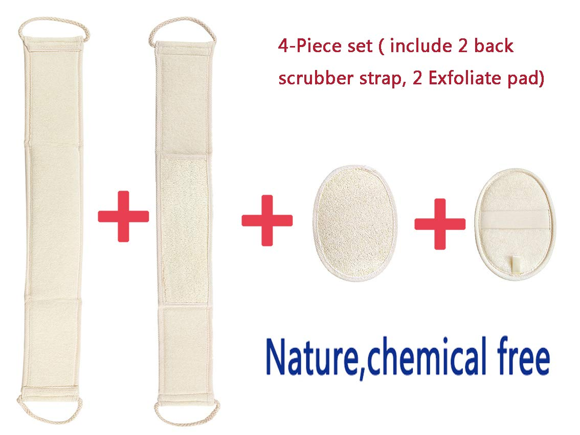 Exfoliating Loofah Back Scrubber for Shower,100% Natural Material Durable in use 20.32 * 67.31 cm(Include 2 Back Scrubber Strap,2 exfoliate pad)