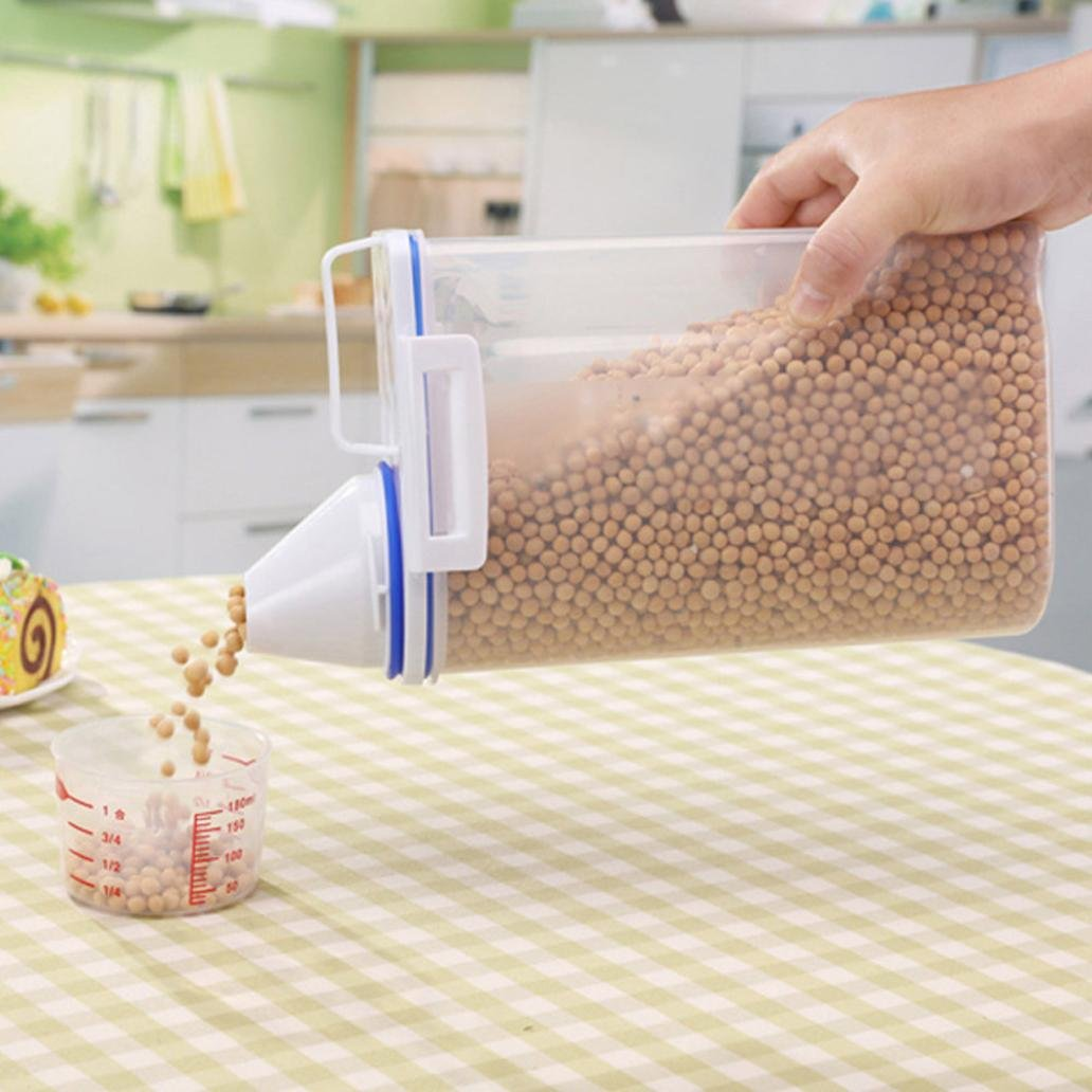 2L Capacity Plastic Cereal Beans Dispenser Storage Box Kitchen Food Grain Rice Container With Measuring Cup Lids Zolimx