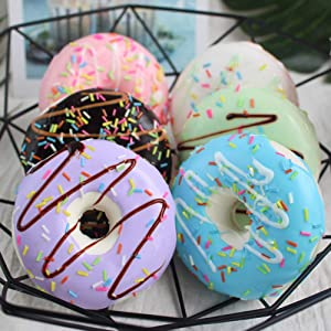 HT 6PCS Big Cream Doughnut Simulation Food Artificial Fake Food Model Play Food Kids Toy Home Kitchen Party Decoration Store Market Display Photography Props, Color Random (Big Cream Doughnut)