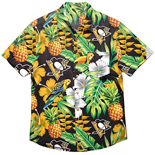 NHL Pittsburgh Penguins Mens Floral Tropical Button Up Shirt, Team Color XL